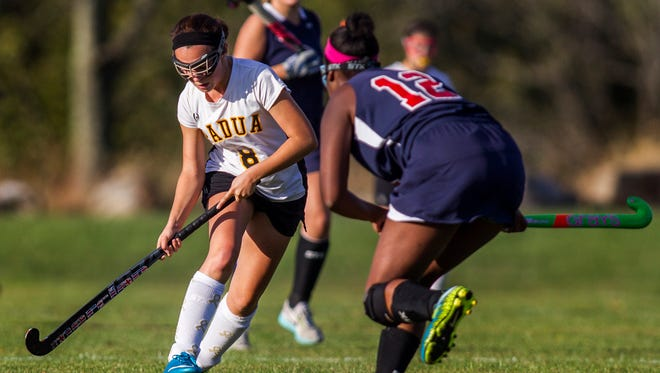 Padua's Marissa Sipala (8), shown here against Newark Charter earlier this year, scored both of the Pandas' goals on Tuesday.