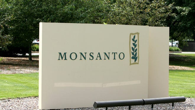 The entrance to the  Monsanto Company, headquartered in a St. Louis file photo on June 28, 2005. AP Photo/James A. Finley, File)