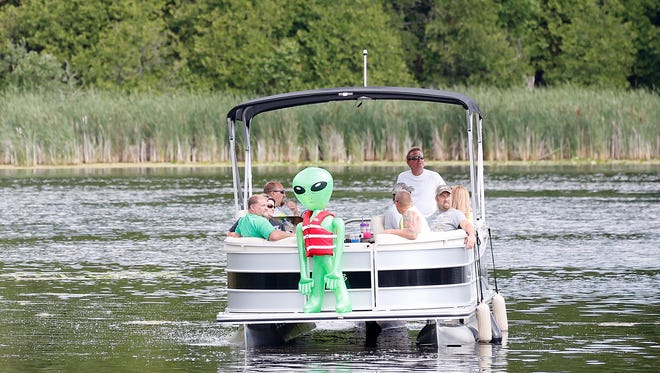 UFO Daze at Benson's Hide-A-Way on Long Lake drew dozens of people Saturday from across Wisconsin and other states. The annual event was held in the Kettle Moraine State Forest in Fond du Lac County north of Dundee.