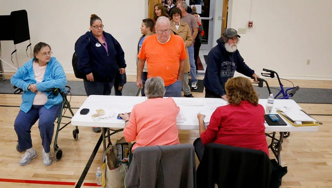 Elmira voters pile into New Beginnings United Methodist Church on Election Day Tuesday to cast their vote.