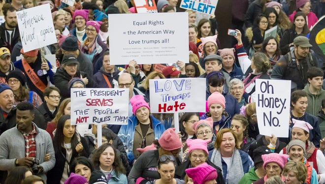 Marchers make their way through a metro station on Jan. 21, 2017, during the Women's March on Washington.