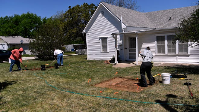 Archaeologists and volunteers excavate the back yard of the Robert E. Howard home in Cross Plains on April 18, 2018. The celebrated author, who died in 1936, was best known as the creator of Conan the Barbarian.
