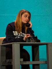 """Grace Miller performs as the cast and crew of Northern Lebanon's production of """"How to Succeed in Business Without Really Trying"""" rehearses on Monday, Feb. 27, 2017."""