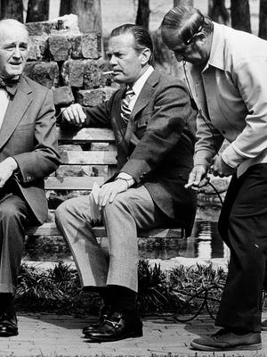 Sam Ragan (left), David Brinkley (center), and a Channel 6 engineer during a television shoot in 1976 in Wilmington. The late Ragan was a newspaper editor and publisher, the state's poet laureate and chairman of the North Carolina Arts Council.