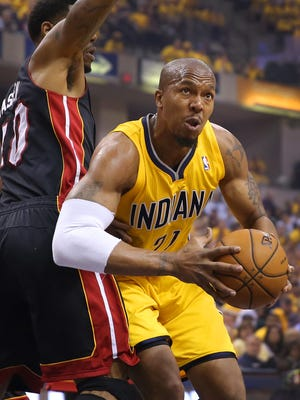 Pacers forward David West drives the ball toward the basket during the first half of action. Indiana Pacers play the Miami Heat in Game 2 of the NBA Eastern Conference Finals Tuesday, May 20, 2014, evening at Bankers Life Fieldhouse.