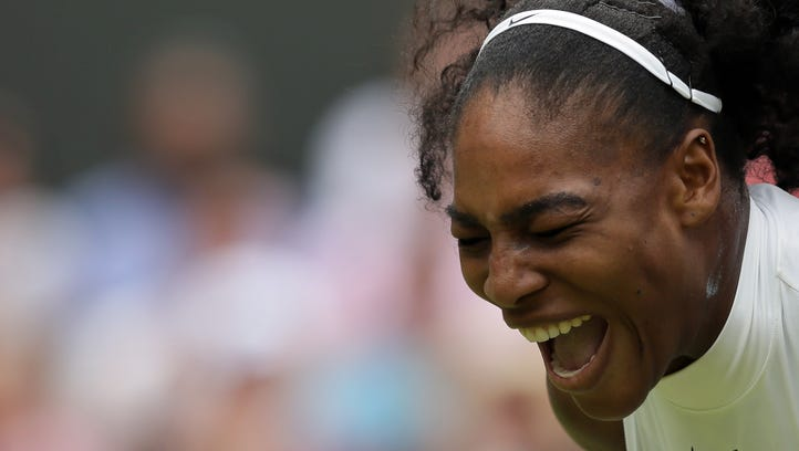 Serena Williams of the U.S celebrates a point against