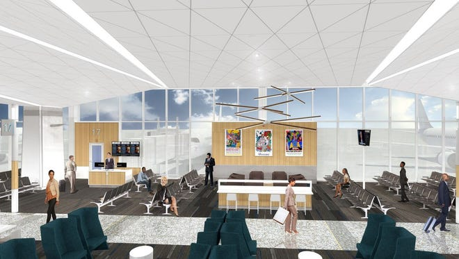 A rendering released by Memphis International Airport shows plans for the airport's $214 million concourse modernization project.