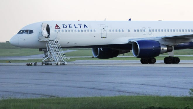 A Delta plane sits at the Montgomery Regional Airport.