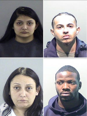 Pictured are: Alyssa Dickson, 21 (top left); Felicia Bowles, 38 (bottom left); Dangelo Fuller, 20 (top right) and Damiso Marble, 30 (bottom right).