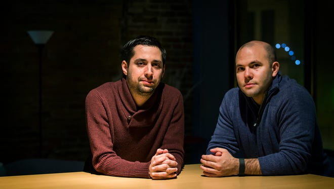 Rafael Lopez (left) and J.C. Glancy (right), co-founders of Counsl, pose for a portrait in Wilmington on Thursday evening.