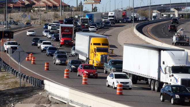Eastbound traffic slows at the curve along Interstate 10 near Sunland Park Drive while the right-hand lane was closed due to road work Tuesday.
