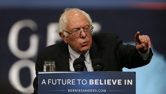 Democratic presidential candidate Bernie Sanders speaks during a campaign rally at the KI Convention Center in downtown Green Bay on Monday, April 4, 2016.