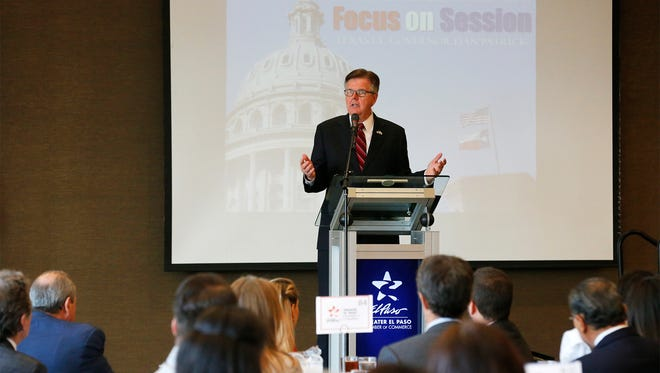 Lt. Gov. Dan Patrick speaks during a luncheon Thursday at the DoubleTree hotel on his top priorities for the upcoming 85th legislative session.