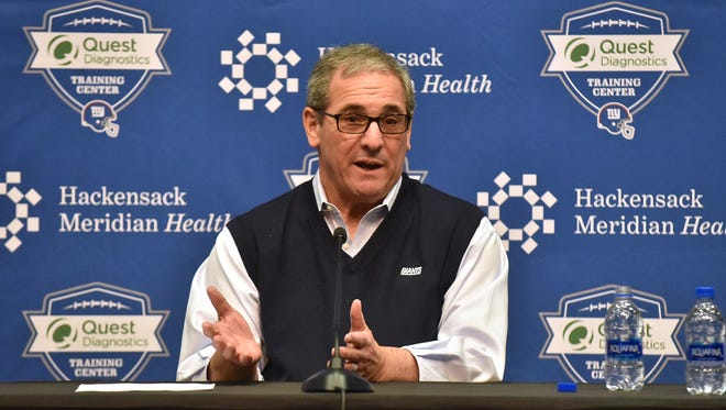 Giants GM Dave Gettleman holds press conference to discuss upcoming NFL Draft.