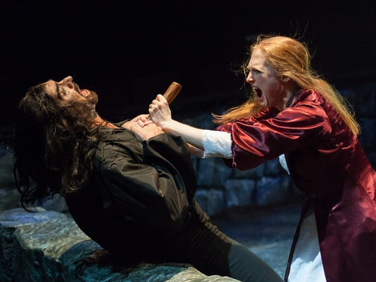 "Howard Kaye and Emily Bennett  in ""Dracula"" at Actors Theatre of Louisville."