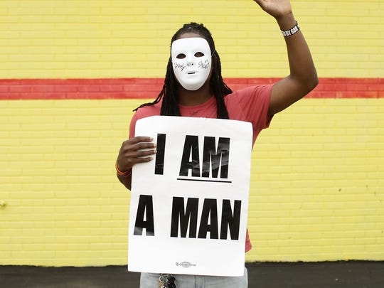 Markis Thompson, a demonstrator protesting the killing of unarmed black teen Michael Brown, poses for a portrait August 17, 2014 in Ferguson, Missouri.