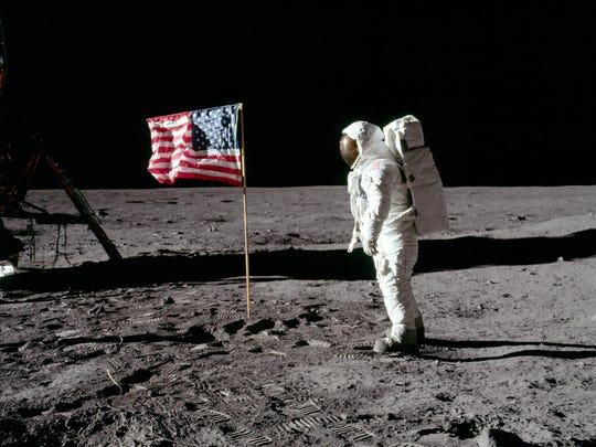Iconic image of astronaut Buzz Aldrin during the 1969 moon landing of Apollo 11.