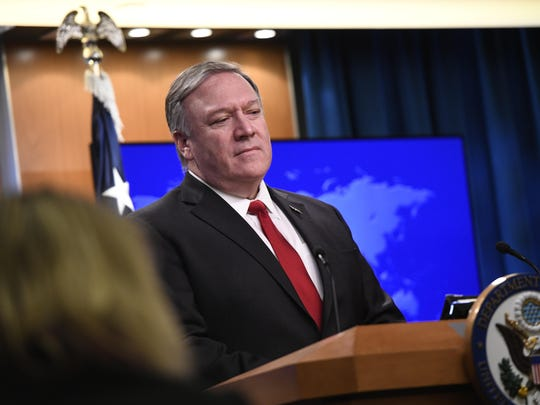 Secretary of State Mike Pompeo speaks during a news conference on Tuesday, March 26, 2019, at the Department of State in Washington.