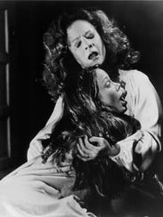 "Piper Laurie and Sissy Spacek in a scene from ""Carrie."""