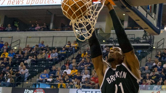 Cory Jefferson dunks in a March 2015 for the Brooklyn Nets against the Indiana Pacers.
