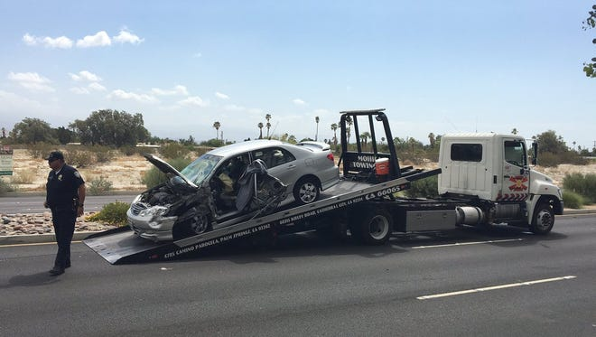 A traffic collision involving a car and SunLine Transit Agency bus caused major delays on a busy Palm Springs road Thursday morning.