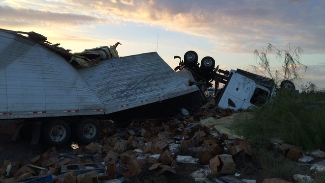 A semi-truck, loaded with dairy products, veered into the median and crashed on eastbound Interstate 10 on July 7. The driver died after being ejected from the truck. He was not wearing a seat belt.