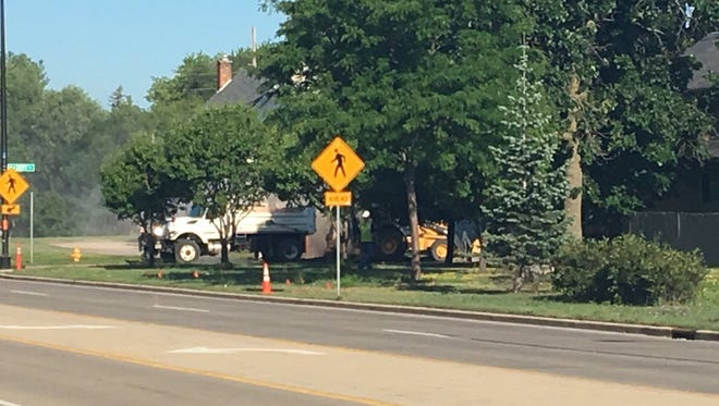 A natural gas line was hit early Friday morning near Johnson and Doty Streets.