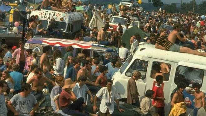 A typical day at the Woodstock Music Festival in White Lake, N.Y., consisted of many sites and sounds.