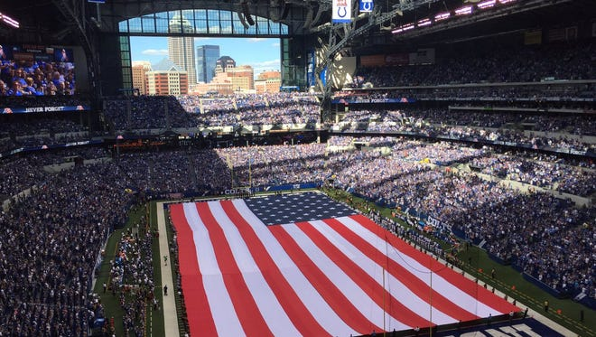 Pre-game ceremonies honoring the anniversary of 9/11 at the Colts season opener