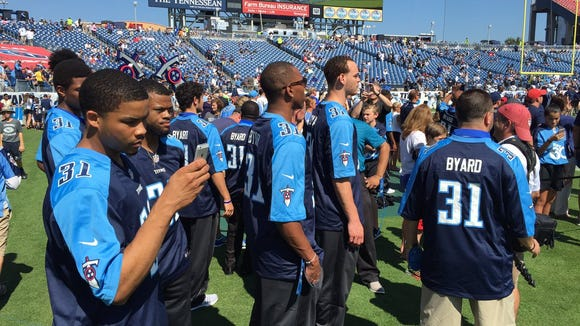 The MTSU men's basketball team at Sunday's Tennessee Titans game.