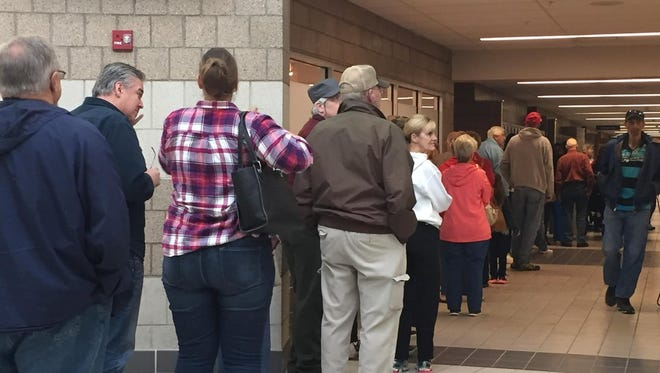 The line this morning at a polling station at CTEC.