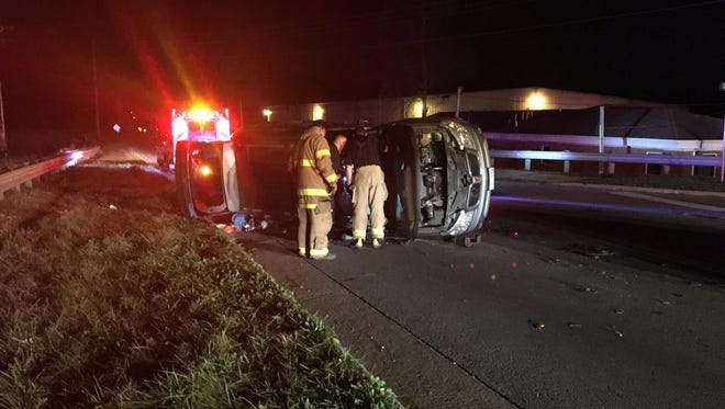 Two people were injured in a two-vehicle rollover crash at Illinois Avenue South and Oak Street on Thursday. The Ohio Highway Patrol is investigating.