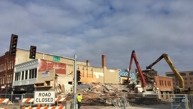 The old Copper Lounge building is almost completely bulldozed on Thursday.