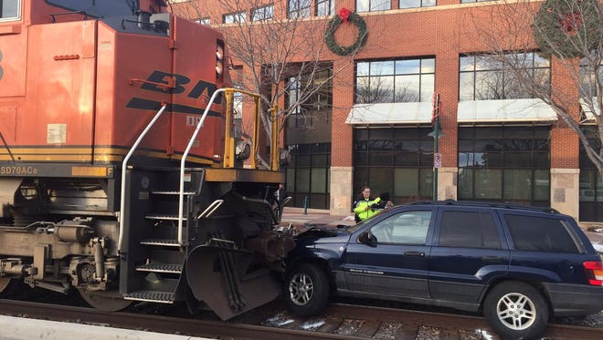 A picture of the car-versus-train collision on Mason Street Tuesday morning.