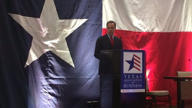 Texas House Speaker Joe Straus addresses the Texas Association of Business' annual conference in Austin on Wednesday, Jan. 18, 2017.