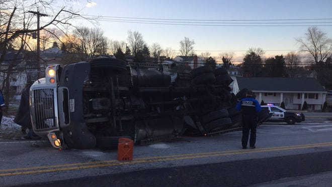 Crews responded to the scene of an overturned tractor trailer in Jacobus Borough Monday.