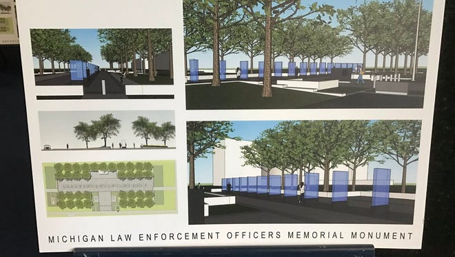 A rendering of the Michigan Law Enforcement Officers Memorial Monument, which organizers hope to construct in 2018.