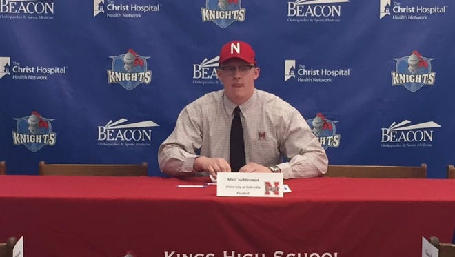 Kings' Matt Sichterman signs his letter of intent to play football at Nebraska.