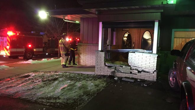 Fond du Lac Fire & Rescue responds to a car that hit Boda's Restaurant shortly before 4 a.m. Wednesday. The entryway was damaged but no one was injured.