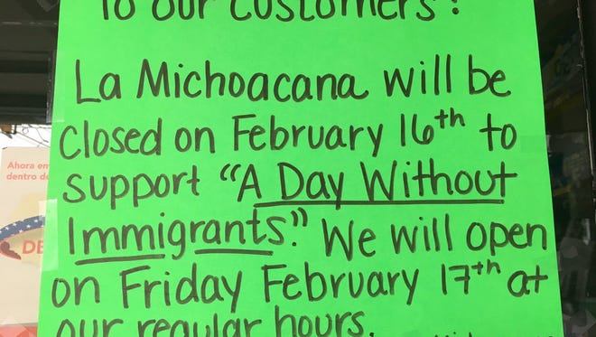 La Michoacana, on South Main Street, displays a sign stating it is closed for A Day Without Immigrants