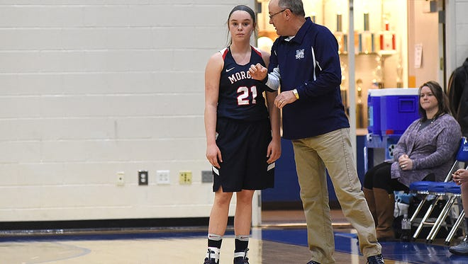 Morgan coach Tim Bowman talks with Kaylie Apperson during a foul shot against Maysville during the 2016-17 season. Bowman resigned recently, citing work schedule conflicts.