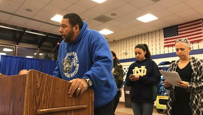 John Lewis, the son of the late Montclair great Aubrey Lewis, speaks at the Montclair Board of Education meeting on Monday, March 13.