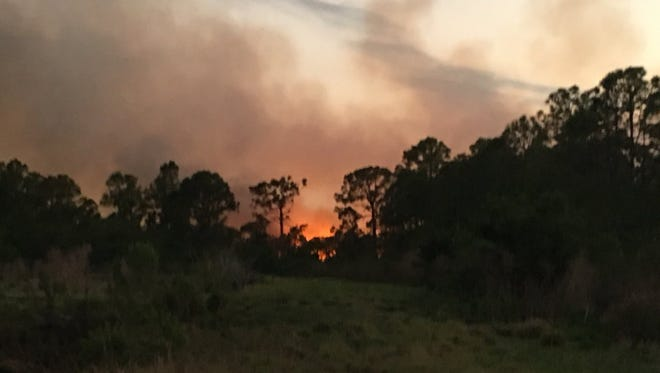 Florida Forest Service crews battled a wild fire April 6, 2017, at a ranch between Glades Cut Off Road and Range Line Road in western St. Lucie County.