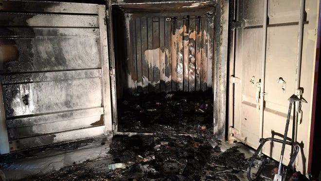 A fire damaged a storage container near a North College Avenue strip mall on Monday night.