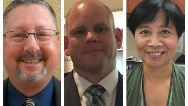 Coachella Valley Unified intends to replace three administrators, from left: Jason Angle, Greg Fromm, Chona Killeen.