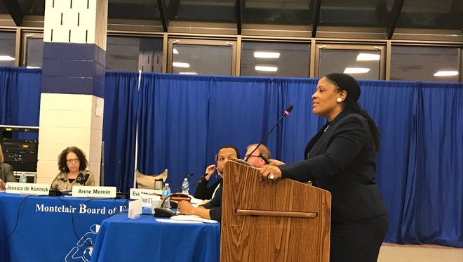 Kendra Johnson, the Montclair School District's assistant superintendent for equity, speaks at the April 12 Montclair Board of Education meeting.