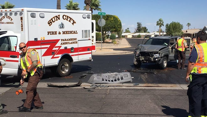 A Sun City Fire Department ambulance was struck by another vehicle on April 28, 2017.