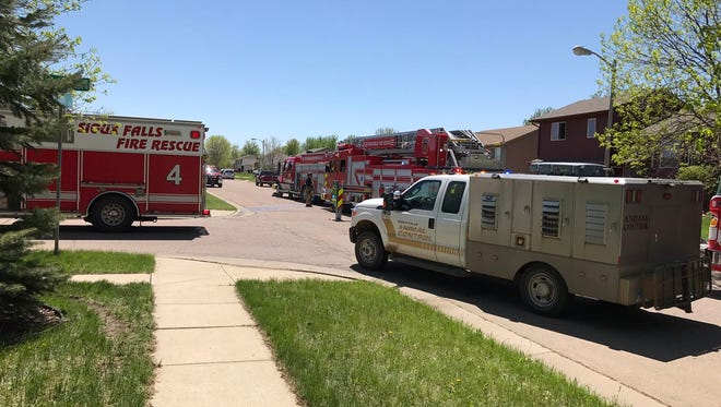 Crews respond to a fire in southwestern Sioux Falls on Sunday afternoon.