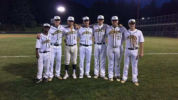 The Reynolds baseball team's seniors and coach Bryan Craig.