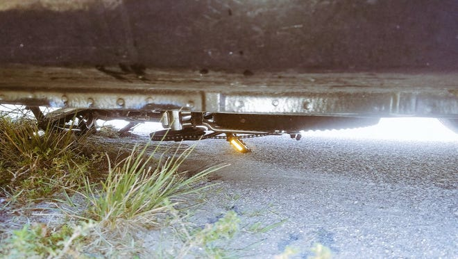 A Palm Bay boy avoided being struck by a car while on his bicycle Tuesday. His bicycle was crushed under the vehicle.
